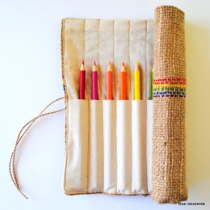 Burlap Pencil Roll
